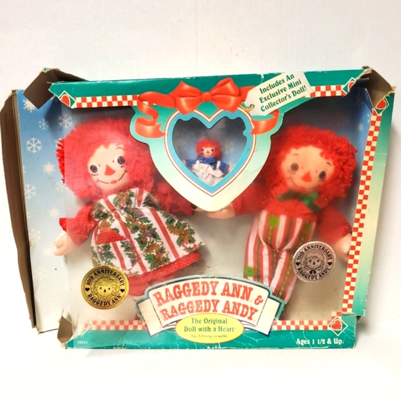 Vintage 1996 Raggedy Ann & Andy Anniversary Dolls With Mini Collector's Doll